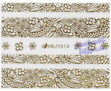 3D Lace Metallic Sticker, Gold