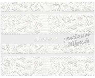 3D Lace Design Sticker, Weiß